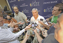 Utah Jazz coach Jerry Sloan talks with reporters during the NBA basketball team's media day in Salt Lake City on Monday, Sept. 27, 2010. (AP Photo/George Frey)