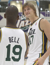 Utah Jazz's Andrei Kirilenko, right, from Russia talks with Raja Bell during the NBA basketball team's media day in Salt Lake City on Monday, Sept. 27, 2010. (AP Photo/George Frey)