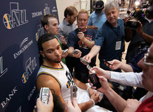 Utah Jazz's Deron Williams speaks with reporters during the NBA basketball team's media day in Salt Lake City on Monday, Sept. 27, 2010. (AP Photo/George Frey)