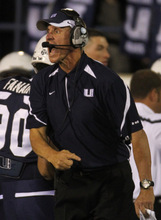 Rick Egan   |  The Salt Lake Tribune   Aggie head coach Gary Andersen, shots directions to the defense, in football action,  Utah State vs. Idaho State football game, Saturday, September 11, 2010.