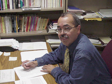 Brigham Young University professor Ignacio Garcia, here at work on a book about a  Supreme Court decision that first recognized Hispanics as a class apart, meriting equal protection under the 14th Amendment.