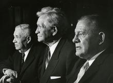 David D, Mckay, J. Rueben, Henry D. Moyle. Historic Image. Salt Lake Tribune Library