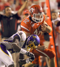 Rick Egan   |  The Salt Lake Tribune    Griff Robles is chased down by Spartan, Brandon Driver (8) as he runs the ball for the Utes, during the Utah vs. San Jose State game at Rice-Eccles Stadium, Saturday, September 25, 2010.