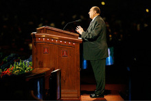 Scott Sommerdorf  l  The Salt Lake TribunePresident Thomas S. Monson addresses the conference center as he announces the end of the session at the afternoon session of LDS General Conference on Sunday.