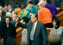 Scott Sommerdorf  l  The Salt Lake Tribune  President Thomas S. Monson waves good-bye to the crowd as he leaves LDS General Conference on Sunday.