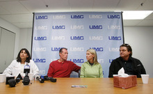 Meena Vohra, left, David Talley, stepfather of Alex Lambson, Kaleen Talley, Alex Lambson's mother, and Arden Lambson, Alex Lambson's father, talk with members of the media at a hospital Wednesday in Las Vegas. Alex Lambson, 17, and Christopher Dane Zdunich, 16, were struck by lightning outside their school Tuesday in St. George. Isaac Brekken   For the Salt Lake Tribune