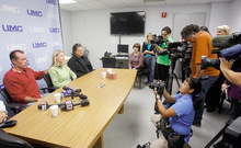 David Talley and Kaleen Talley, Alex Lambson's stepfather and mother, talk with the media at a hospital Wednesday in Las Vegas. Lambson, 17, and Christopher Dane Zdunich, 16, were struck by lightning outside their school Oct. 5 in St. George. IIsaac Brekken   For the Salt Lake Tribune