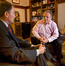 PAUL FRAUGHTON   The Salt Lake Tribune  Bob Henrie, right, is more than an advertising executive and political operative. He is Gov. Gary Herbert's, left, closest adviser and confidant. Here, the two are in Henrie's office doing some preparation for a recent debate.