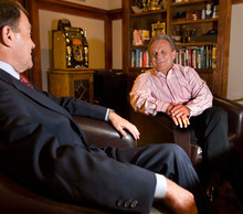 PAUL FRAUGHTON   The Salt Lake Tribune Advertising executive and political operative Bob Henrie, right, is pictured here in his office with Gov. Gary Herbert going over talking points for a recent debate. Henrie is Herbert's closest advisor and confidant.