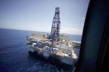 FILE - In a July 28, 2010 file photo, the deepwater rig Noble Danny Adkins is seen from Interior Secretary Ken Salazar's helicopter as he arrives to tour the rig in the Gulf of Mexico, off the coast of Louisiana. The Obama administration, under heavy pressure from the oil industry and others in the Gulf Coast, on Tuesday, Oct. 12 2010 lifted the moratorium on deep water drilling that it imposed in the wake of the disastrous BP oil spill. (AP Photo/Gerald Herbert, File)