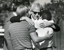 FILE  | The Salt Lake Tribune J. Gary Sheets, center, is comforted by his daughter, Katie (Sheets) Robertson, in 1985 after arriving at his Salt lake City home, where his wife had been killed in a bomb explosion.
