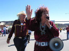 Felicia Fonseca  |  The Associated PressLynda Lovejoy waves to the crowd during the Navajo Nation Fair parade on Sept. 11, 2010 in Window Rock, Ariz. Lovejoy is seeking to become the tribe's first female president.