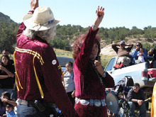 Lynda Lovejoy waves during the Navajo Nation Fair parade in Window Rock, Ariz., on Sept. 11, 2010. Lovejoy is seeking to become the tribe's first female president. (AP Photo/Felicia Fonseca)