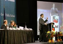 Scott Sommerdorf  l  The Salt Lake TribuneGovernor Gary Herbert speaks to teachers at the Utah Education Association annual convention, Thursday, October 14, 2010.