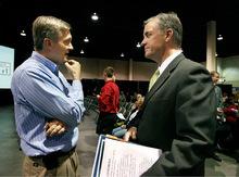 Scott Sommerdorf  l  The Salt Lake TribuneCongressman Jim Matheson (left) spoke with Gubernatorial candidate Mayor Peter Corroon at the Utah Education Association annual convention, Thursday, Oct. 14, 2010.
