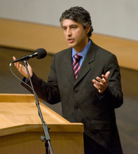 Paul Fraughton     The Salt Lake Tribune    An internationally recognized scholar on Islam, Reza Aslan, speaks to a standing room only crowd at Salt Lake City's Main Library on  Monday,October 25, 2010