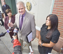 Paul Fraughton  |  The Salt Lake Tribune   Lt. Scott Conley of the Ogden Police Dept. introduces Kris Murphy (left) and Dana Hernandez,who will be program coordinators for CROSS, a program  that will provide services for high risk young people  involved in gang activity.  The initials stand for Comunity Re-entry Opportunity Social Suppression.   Wednesday,October 27, 2010