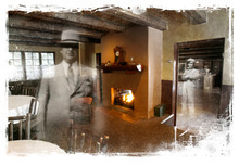 Photo illustration by Francisco Kjolseth and Blain Hefner  |  The Salt Lake Tribune  The haunted history at Log Haven restaurant includes sightings of L.F. Rains, Log Haven's founder and owner of a ghost town outside of Helper, a woman in Victorian garb and a tall, thin man wearing a black suit and a stovepipe hat.