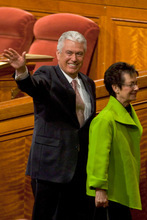 Dieter F. Uchtdorf of the Quorum of the Twelve Apostles, waves to the crowd after the afternoon session of the 180th Semiannual General Conference of The Church of Jesus Christ of Latter-day Saints Saturday, April 3, 2010.