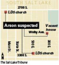 LDS churches burnFirefighters were called to extinguish two fires at LDS churches in South Salt Lake. A vacant home also burned.