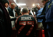 Francisco Kjolseth  |  The Salt Lake TribuneZane Taylor speaks with the media Monday as the Utes unveil their new camouflage-blackout uniforms for Saturday's big game vs. TCU. The specially designed jerseys feature words like