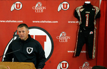 Francisco Kjolseth  |  The Salt Lake Tribune  Utah football coach Kyle Whittingham speaks to the media Monday after the unveiling of the team's camouflage-blackout uniforms for Saturday's big game vs. TCU. The themed uniforms are in honor of the Wounded Warrior Project and the jerseys will be auctioned off after the game to raise money for the Wounded Warrior Foundation.