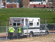 Al Hartmann  |  The Salt Lake TribuneAmbulances wait on standby Monday to an underground hot water pipe explosion at 1850 East and 300 South on the University of Utah campus.  Several construction workers were injured in the explosion.