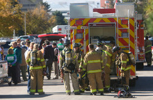 Al Hartmann  |  The Salt Lake TribuneSalt Lake City firefighters respond Monday to an underground hot water pipe explosion at 1850 East and 300 South on the University of Utah campus where several construction workers were injured.