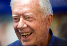 Al Hartmann  |  The Salt Lake Tribune Former President Jimmy Carter was in a jocular mood as he jokes with folks at a book signing for his new book,