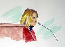 Elizabeth Smart is shown on the witness stand in this courtroom sketch Monday, Nov. 8, 2010 in Salt Lake City. Opening arguments in the Brian David Mitchell trial relating to the kidnapping of Elizabeth Smart in 2002 resumed Monday after a three-judge panel of the Federal Appeals Court stopped the trial last Thursday in a motion to have it moved out of Utah.  (AP Photo/Jimmy Lucero)