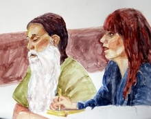 Brian David Mitchell, left, and his attorney Audrey James are shown in this courtroom sketch Monday, Nov. 8, 2010 in Salt Lake City. Opening arguments in the Brian David Mitchell trial relating to the kidnapping of Elizabeth Smart in 2002 resumed Monday after a three-judge panel of the Federal Appeals Court stopped the trial last Thursday in a motion to have it moved out of Utah.  (AP Photo/Jimmy Lucero)