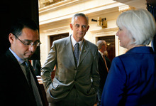 FILE PHOTO | The Salt Lake Tribune Senate President Michael Waddoups, center.