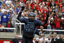 Juan Diego's Skyler Doran celebrates after hitting the winning field goal during the 3A high school football championships Friday, Nov. 19, 2010, in Salt Lake City. Juan Diego defeated Hurricane for the 3A title 10-7. (Jim Urquhart/ Special to The Salt Lake Tribune)