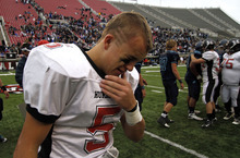 Hurricane's Weston Yardley cries as the end of the 3A high school football championships Friday, Nov. 19, 2010, in Salt Lake City. Juan Diego defeated Hurricane for the 3A title 10-7. (Jim Urquhart/ Special to The Salt Lake Tribune)
