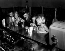 Marine Ricky Sorenson at the soda fountain in Anoka, MN after coming home from war. Photograph, 1945. Courtesy Minneapolis Star Tribune