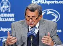 Penn State coach Joe Paterno answers a question during his weekly NCAA college football news conference on Tuesday, Nov 9, 2010 in State College, Pa.  Penn State plays at Ohio State on Saturday.  (AP Photo/Pat Little)