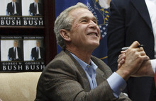 Leah Hogsten  |  The Salt Lake Tribune Former President George W. Bush spent about two hours Friday signing his new book,