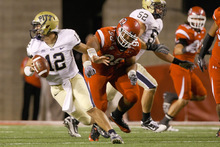 Photo by Chris Detrick  |  The Salt Lake Tribune Utah's Sealver Siliga, right, shown here chasing Pitt's Tin Sunseri earlier this season, and the rest of the Ute defensive line will be tested by BYU's running game.