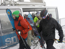 Al Hartmann  |  The Salt Lake Tribune  Skiers hit the ground running as they exit the tram at Snowbird Wednesday on morning.  Weather at the top of Hiden Peak at Snowbird was -5 degrees, with gusty winds, light snow and low visibility.  It didn't seem to faze the this bunch.