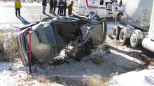 Images of the fatal crash between a van and semi truck in the intersection of State Road 208 and Interstate Road 35 near Tabiona. Father and daughter, Stuart William Lewis, 43, and, Karalee Lewis, 18, of American Fork died at the scene. Courtesy Utah Department of Public Safety