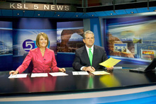 Photo by Chris Detrick  |  The Salt Lake Tribune Bruce Lindsay and Nadine Wimmer during the KSL 5 Television's Eyewitness News 6 p.m. newscast on Aug. 24, 2010.