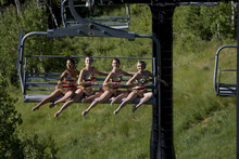 In August 2010, four Rockettes came from Radio City Music Hall to visit Utah. They visited Rio Tinto Stadium, Olympic Park, Park City Mountain Resort and, of course, Temple Square. They will perform in Utah beginning on Black Friday. Courtesy Michael Brandy