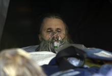 Francisco Kjolseth  |  The Salt Lake Tribune Brian David Mitchell is taken out of Federal Court in a stretcher after collapsing in court during his federal kidnapping trial in Salt Lake City on Tuesday, Nov. 30, 2010.