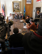 From left, public affairs officer Michael Harp, Salt Lake City Mayor Ralph Becker and Salt Lake City public utilities director Jeff Niermeyer speak at a press conference about a Chevron oil spill at the University of Utah. Approximately 100 barrels of crude oil was released near Red Butte Canyon. Stephen Holt / Special to the Tribune