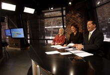 Trent Nelson     The Salt Lake Tribune Meteorologist Debbie Worthen and anchors Mary Nickles and Ron Bird broadcasting 2News at Noon at the KUTV studio on Main Street on Tuesday, Nov. 30, 2010.