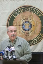 Paul Fraughton  |  The Salt Lake Tribune   Utah County Sheriff, JAMES TRACY  speaks at a press conference at his office, where it was announced that arrests have been made in the Mortensen murder investigation on  Tuesday,December 7, 2010