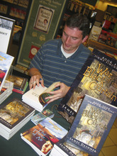 [photo by Lynda Percival] West Jordan resident and author James Dashner at a book signing at the Jordan Landing Barnes and Noble.