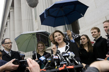 Djamila Grossman  |  The Salt Lake Tribune  Lois Smart, backed by Elizabeth and Ed Smart, addresses the media outside the Frank E. Moss Federal Courthouse in Salt Lake City, after a verdict has been reached in the trial of Brian David Mitchell on Thursday, Dec. 9, 2010. Mitchell kidnapped and sexually assaulted Elizabeth Smart for nine months in 2002.