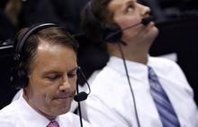 Djamila Grossman  |  The Salt Lake Tribune  Brigham Young University broadcasters Dave McCann, left, and Andy Toolson work during a BYU basketball game against the University of Arizona in Salt Lake City, on Saturday, Dec. 11, 2010.