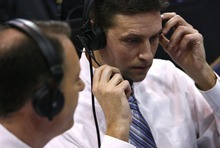Djamila Grossman  |  The Salt Lake Tribune  Brigham Young University broadcasters Andy Toolson, right, and Dave McCann work during a BYU basketball game against the University of Arizona in Salt Lake City, on Saturday, Dec. 11, 2010.